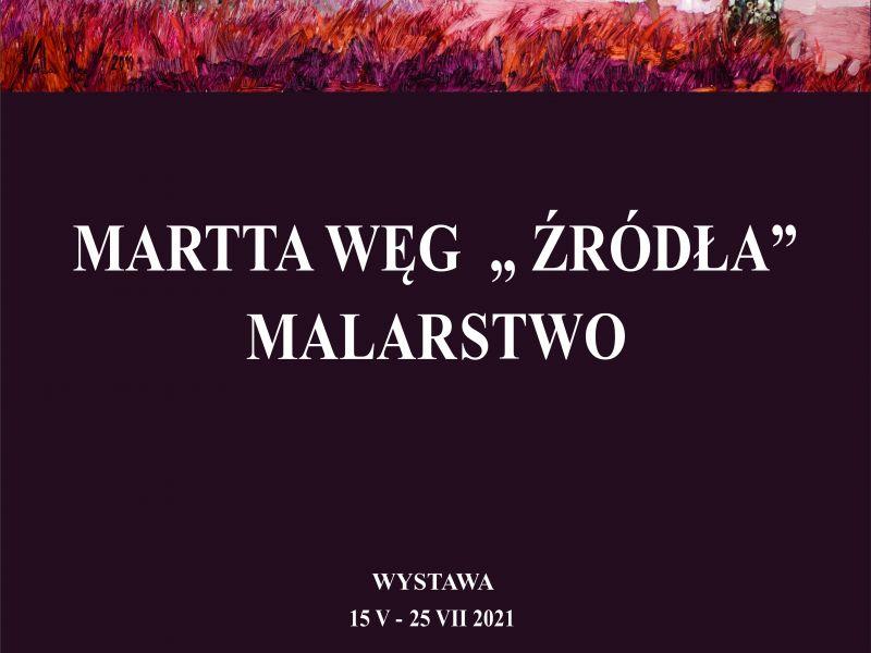 Na zdjęciu plakat wystawy malarstwa Martty Węg. Na plakacie obraz malarki przedstawiający dwie dziewczynki w lesie