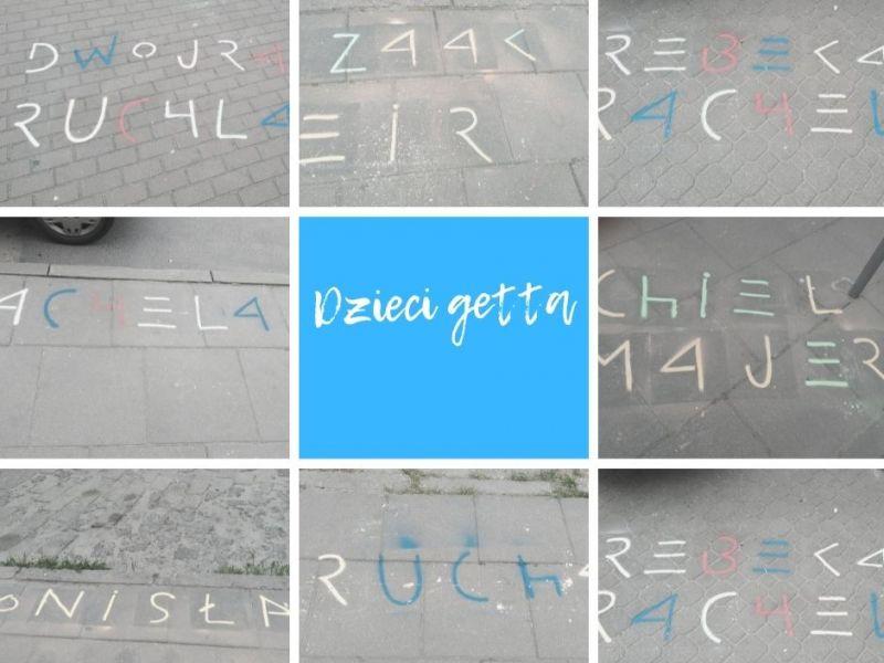 Na zdjęciu kolaż zdjęć z imionami dzieci żydowskich napisanych kredą na chodniku