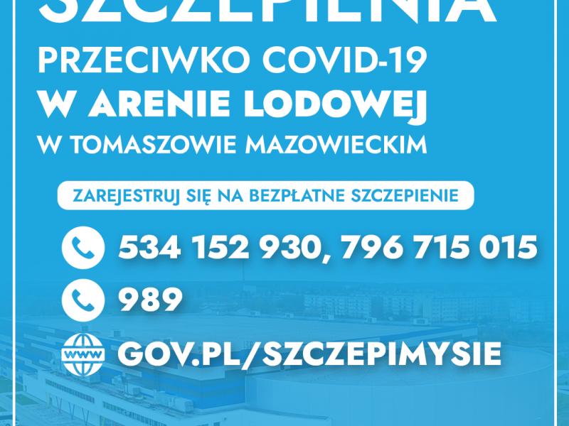 Na zdjęciu baner Punktu Szczepień Powszechnych w Arenie Lodowej