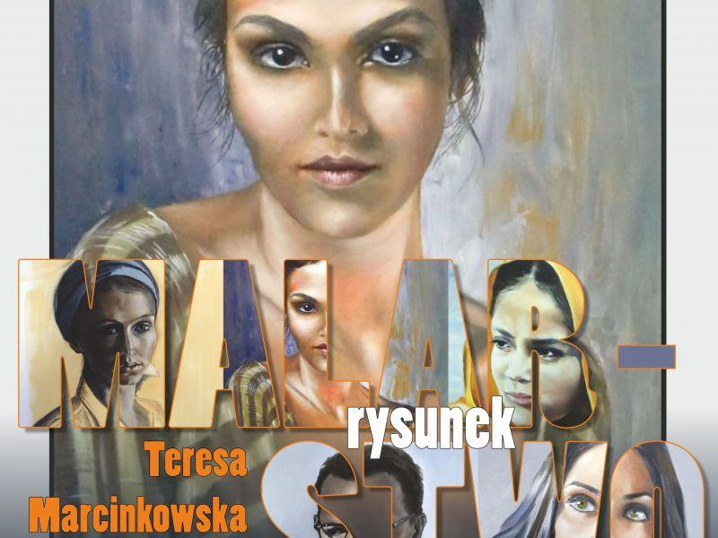 PlakatL obraz dziewczyny z ciemnymi włosami, gradient w dół do szarości, na tym napis MALARSTWO, w tle liter inne obrazy twarzy. Napisy białymi literami i pomarańczowymi