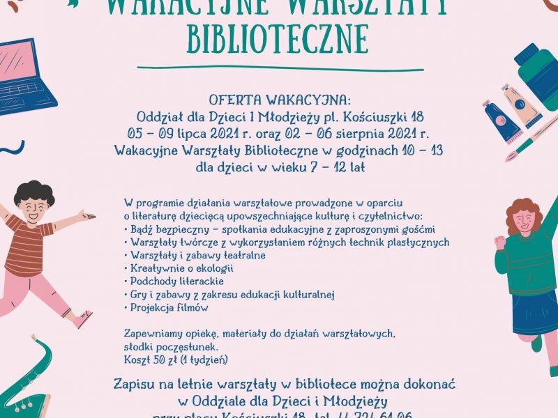 Plakat Wakacyjnych Warsztatów Bibliotecznych. Na plakacie postaci rysunkowe dziecii