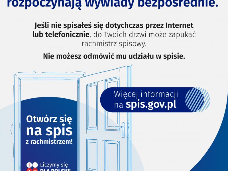 Baner NSP z informacją o rozpoczęciu się wywiadów bezpośrednich przeprowadzanych przez rachmistrzów spisowych
