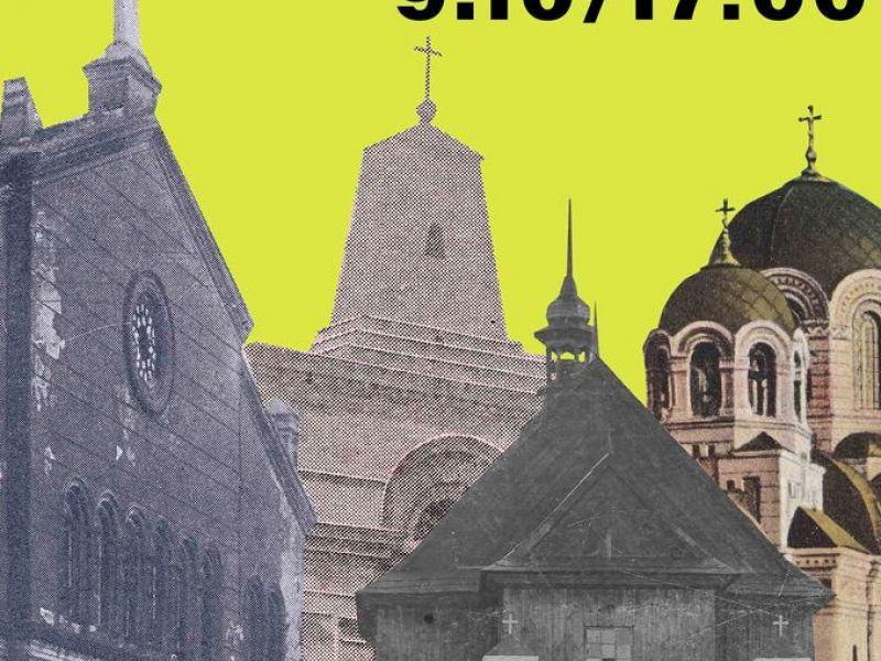 Plakat informujący o wykładzie historycznym w muzeum, na plakacie budynki architektoniczne z Tomaszowa Mazowieckiego, stare zabytki miasta. Na plakacie informacja o dacie i godzinie wykładu