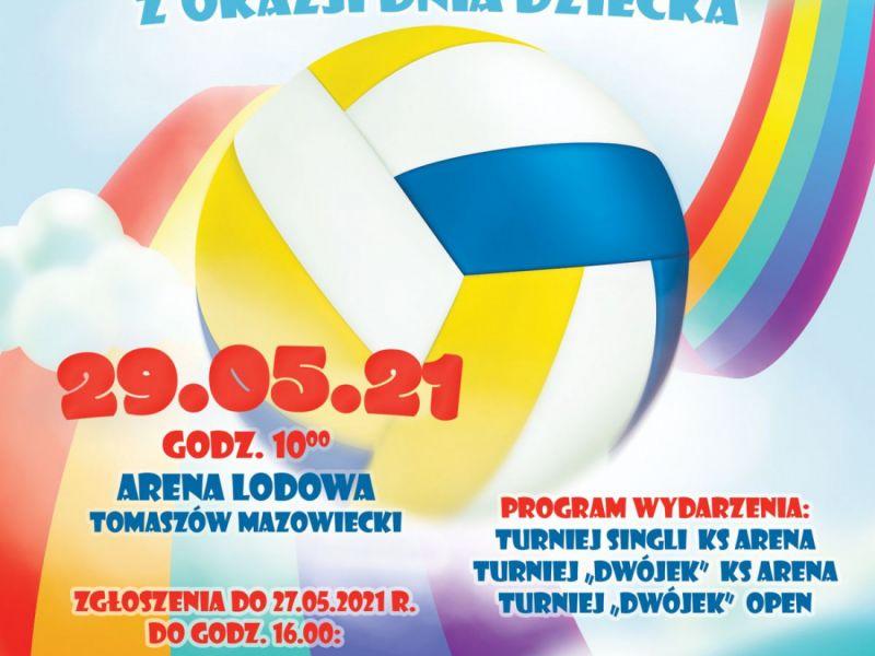 Na zdjęciu plakat zawodów Arena Cup - Miniturniej Siatkówki z okazji Dnia Dziecka. Na zdjęciu piłka i kolorowe wstęgi