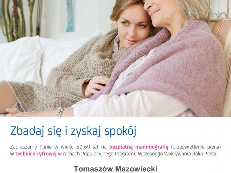 Na zdjęciu plakat bezpłatnej mammografii. Na plakacie matka z córką, przytulone do siebie