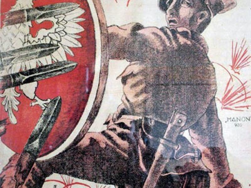 Plakat jasny, żołnierz trzyma czerowną tarczę z godłem, czerowny napis