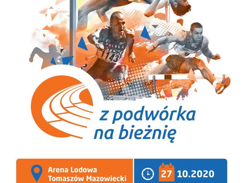 Plakat przedstawia sylwetki sportowców z różnych dyscyplin lrkkoatletycznych: skok wzwyż, sprint, bieg przez płotki. Na plakacie informacje o terminie i dacie wydarzenia