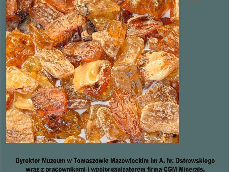 Na zdjęciu plakat wystawy-giełdy minerałów w Muzeum. Na plakacie bursztyn w dużej ilości