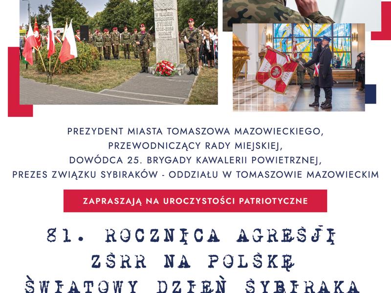 Plakat z informacjami o wydarzniu: na białym tle widoczne są zdjęcia z poprzednich imprez, widać pomnik, sztandar i kwiaty. Pod zdjęciami granatowe i czerwone napisy