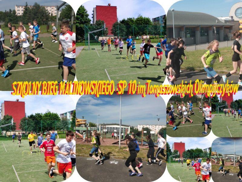 Na zdjęciu kolaż zdjęć ze szkolnego biegu im. B. Malinowskiego. Na zdjęciach uczniowie biorą udział w rozmaitych biegach na boiskach szkolnych