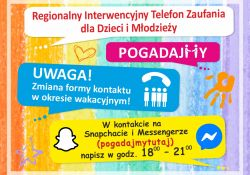 Regionalny Telefon Zaufania – zmiana formy funkcjonowania