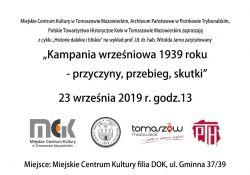 Kampania wrześniowa 1939 roku – zaproszenie na wykład
