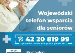 Na zdjęciu baner wojewódzkiego telefonu wsparcia dla seniorów. Na banerze para seniorów (kobieta i mężczyzna) oraz informacje o numerze telefonu i zakresie pomocy